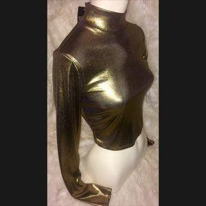 F21 Long Sleeve Gold Metallic Top NWT size Sm